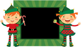 Christmas frame with cute elves Royalty Free Stock Photo