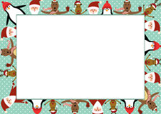 Christmas frame. Cute christmas frame with Santa, reindeer, bear and penguin Stock Photo