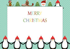Christmas frame. Cute christmas frame with Santa, reindeer, bear and penguin Royalty Free Stock Images
