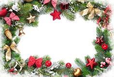 Christmas frame with decor and fir tree Stock Photo