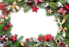 Christmas frame with decor and fir tree Stock Image