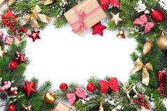 Christmas frame with decor and fir tree Royalty Free Stock Photo