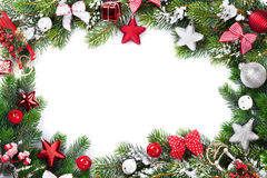 Christmas frame with decor and fir tree Stock Photography