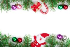 Christmas frame decorated with balls isolated on white background with copy space for your text.  Royalty Free Stock Photo