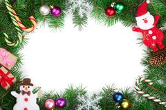 Christmas frame decorated isolated on white background with copy space for your text. Top view. royalty free stock photography