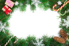 Christmas frame decorated with snowflakes isolated on white background with copy space for your text. Top view. royalty free stock images