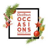 Christmas Frame with Decorations. Christmas ornaments composition border frame with room for a personalised message. Vector illustration Royalty Free Stock Images