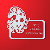 Christmas frame with decorative horse Royalty Free Stock Images