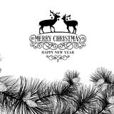 Christmas frame with deers Stock Photography