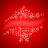 Christmas frame with drawn snowflakes lines. Around blank space Royalty Free Stock Photo