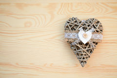 Christmas frame: dry heart on the wood table. Frame: dry heart on the wood table Stock Images