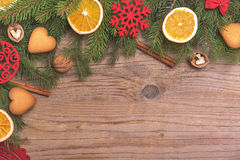 Christmas frame with dry oranges. royalty free stock image
