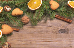 Christmas frame with dry oranges. royalty free stock photography