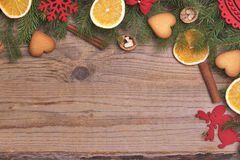 Christmas frame with dry oranges. stock image