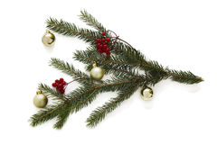 Christmas frame element for greeting card design. Decorations with Christmas tree branch and Christmas toys isolated on white back. Ground. New year card frame royalty free stock images
