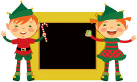 Christmas frame with elves Stock Photos