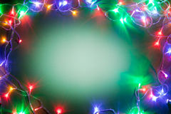 Christmas frame with fairy lights. Royalty Free Stock Photography