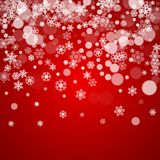 Christmas frame with falling snow. On red background. Santa Claus colors. Merry Christmas frame with white frosty snowflakes for banners, gift cards, party Royalty Free Stock Photography