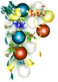 Christmas frame with fir branch, baubles and bells Royalty Free Stock Photo