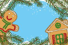 Christmas Frame with Fir Branch and Gingerbread. Christmas Frame with Fir Branch, Gingerbread House, and Gingerbread Man Royalty Free Stock Images