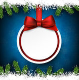 Christmas frame with fir branches and ball. Royalty Free Stock Photo