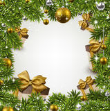 Christmas frame with fir branches and balls. Royalty Free Stock Photo