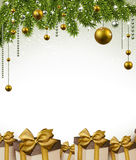 Christmas frame with fir branches and balls. Stock Photography