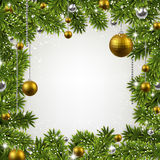 Christmas frame with fir branches and balls. Stock Images