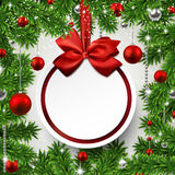 Christmas frame with fir branches and balls. Royalty Free Stock Photography