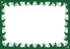 Christmas frame with fir branches and snowflakes. Flat christmas frame with fir branches and snowflakes Stock Image