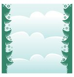 Christmas frame with fir branches and snowflakes. Flat christmas frame with fir branches and snowflakes Stock Photos