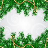 Christmas frame with fir and decorations Stock Photo