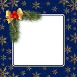 Christmas frame. With fir and ribbon on blue background Stock Photo