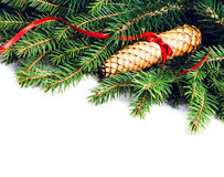 Christmas Frame with Fir Tree Branch and Christmas decoration is Royalty Free Stock Photo