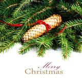 Christmas Frame with Fir Tree Branch and Christmas decoration is Royalty Free Stock Photos
