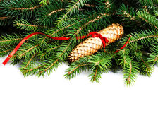 Christmas Frame with Fir Tree Branch and Christmas decoration is Stock Photography