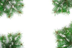 Christmas Frame of Fir tree branch with snow isolated on white background with copy space for your text. Top view.  Stock Image