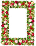 Christmas frame with fir-tree branches, balls, bells, holly, poinsettia and cones. Vector illustration. Vector Christmas frame with green, red, pink and silver Stock Image