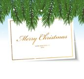Christmas frame. With fir-tree branches and snow Stock Image