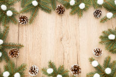 Christmas Frame with Fir Tree Twigs and Pine Cones Stock Photos
