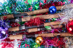 Christmas frame for fishers and anglers Royalty Free Stock Images