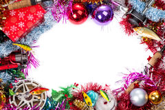 Christmas frame for fishers and anglers Stock Photography
