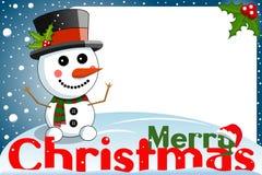 Christmas frame funny snowman xmas night Stock Photography