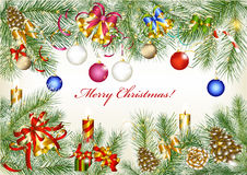 Christmas frame from fur tree branches Stock Photo