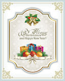 Christmas frame with gift boxes.  Christmas frame with a gift box on the background of snowflakes royalty free illustration