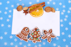Christmas frame with gingerbread cookies and decorations Stock Image