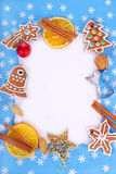 Christmas frame with gingerbread cookies and decorations Stock Photo