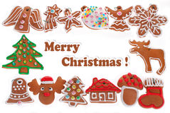 Christmas frame with gingerbread cookies isolated on white Stock Photo