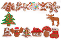 Christmas frame with gingerbread cookies isolated on white Stock Photography
