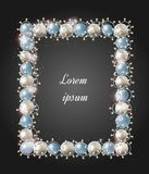 Christmas frame with a glowing garland. Bright stars and balls f royalty free illustration